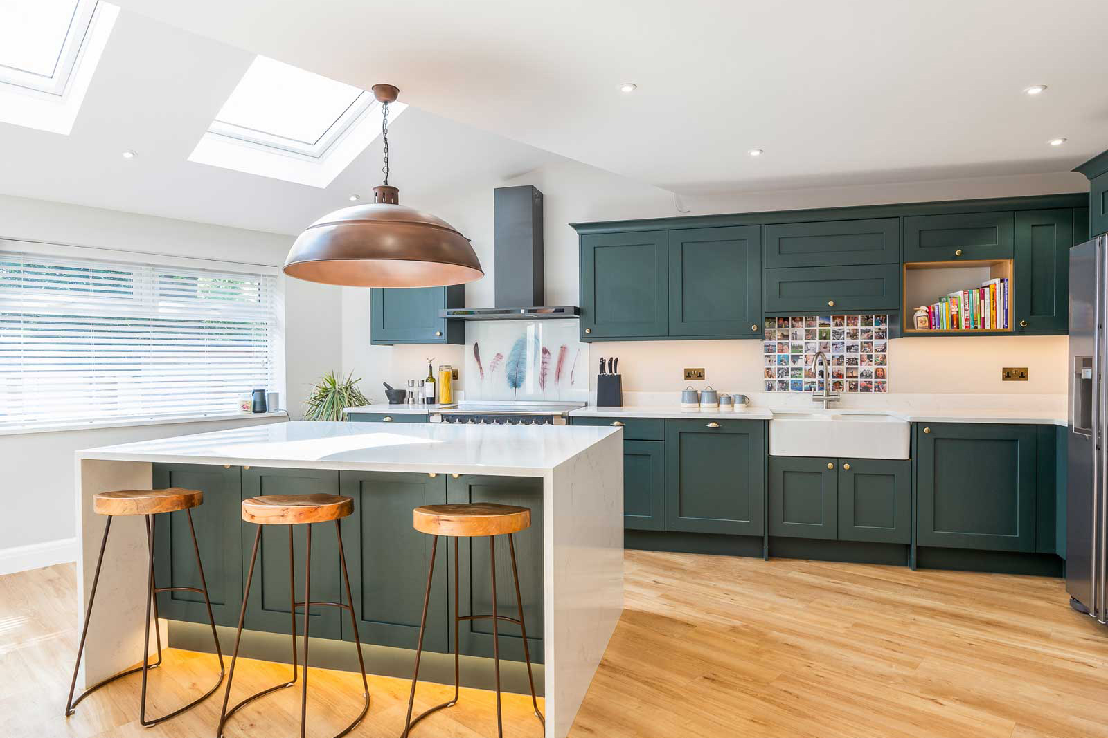 Painted Shaker Green Kitchen Real kitchens Hertfordshire